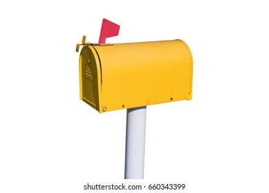 yellow  mailbox isolated on white background