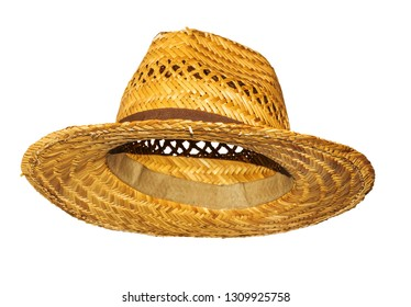 Yellow man straw hat isolated on white background side view.