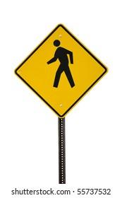 A yellow man walking sign