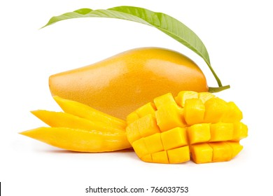 Yellow mango and mango slice with cubes isolated white background