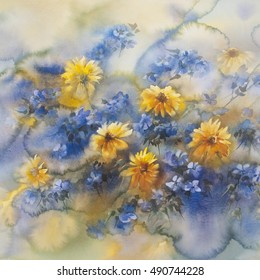 yellow marguerite watercolor