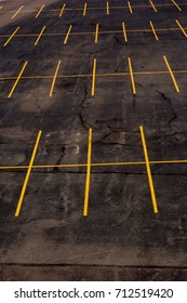 Yellow markings in empty parking lot