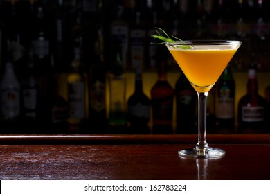 yellow martini cocktail
