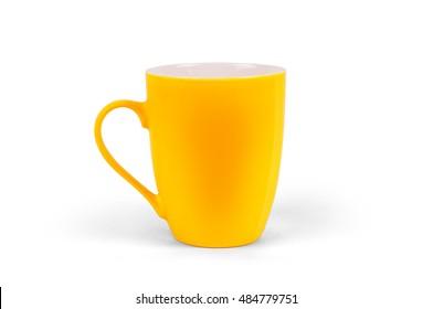 Yellow matt mug on a white background