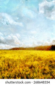 Yellow meadow and blue sky landscape - oil painting