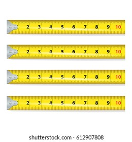 Yellow Measure Tape. Centimeter And Inch. Measure Tool Equipment Isolated On White Background. Several Variants, Proportional Scaled.