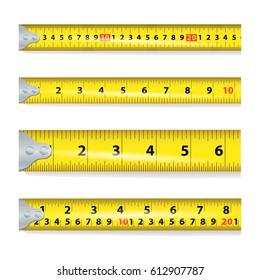 Yellow Measure Tape On White Background illustration