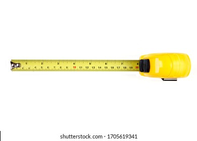 Yellow measuring tape isolated on white background, Top View.  8 in.
