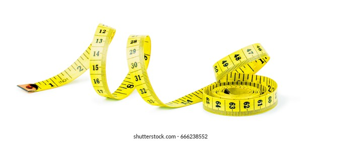 Yellow measuring tape isolated on white background. Diet concept