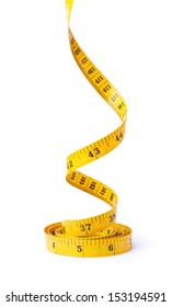 Yellow measuring tape on white background rushes up