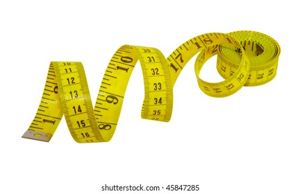 Yellow measuring tape for tailor isolated on white