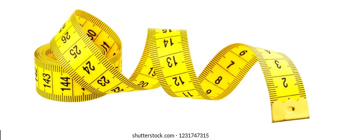 Yellow measuring tape without shadow isolated on white background