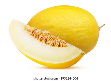 Yellow melon dukral and slice isolated on white background. Clipping Path. Full depth of field.