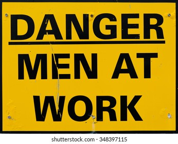 Yellow Men At Work Sign