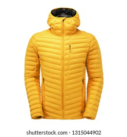 Yellow Men's Ski Jacket Isolated on White Background. Winter Coat with Adjustable Hood and Water Resistant. Unisex Warm Hoodie Outwear Cotton Windproof Fabric. Hooded Clothing Wear