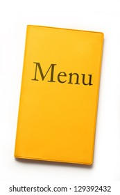 Yellow menu book on white