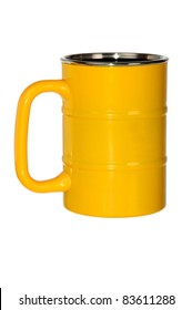 yellow metal barrel shaped mug isolated on white
