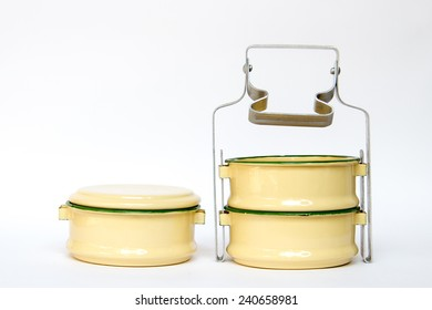 Yellow metal carrier tiffin, antique thai food carrier