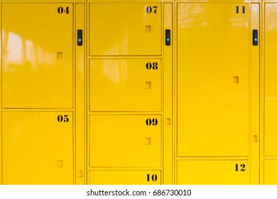 yellow metal lockers background and texture, delivery package locker