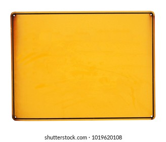Yellow metal sign board isolated
