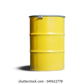 yellow metal tank, the container of radiation substance waste to protect toxic from pollution