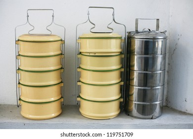 Yellow metal Tiffin,thai food carrier