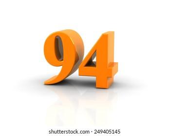 yellow metallic number 94 on white background.digitally generated image.