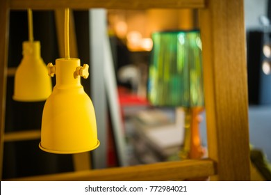 yellow metallic painted fixtures in a modern room