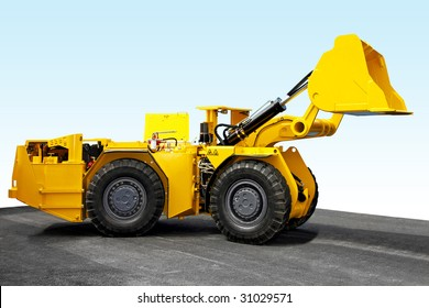 Yellow mining digger for underground hard work