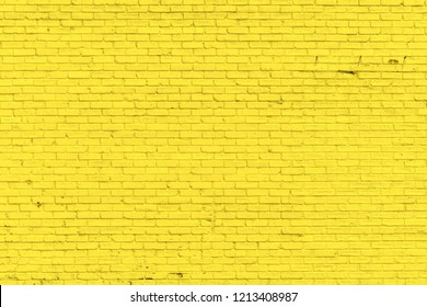 Yellow misty brick wall for background or texture
