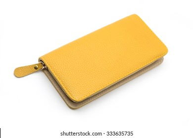 Yellow money purse isolated on white