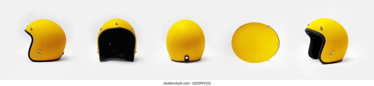 Yellow motorcycle helmet on a white background, front, back, side,top.