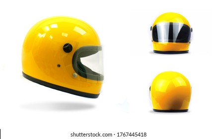 Yellow motorcycle helmet on a white background, front, back, side
