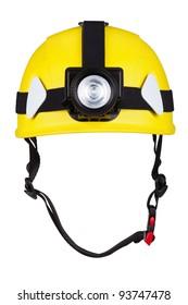 yellow mountain helmet with headlamp