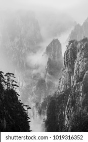 Yellow Mountain or Huangshan mountain Cloud Sea Scenery in Black and White tone, East China`s Anhui Province.