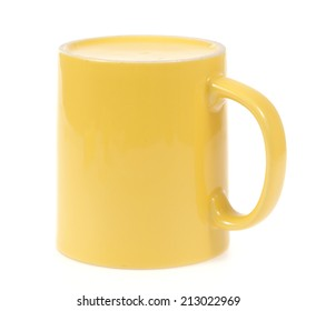 Yellow mug cup for coffee tea water on white background