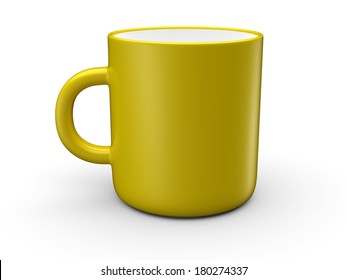 Yellow mug empty blank for coffee or tea isolated on white background