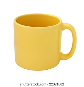 Yellow mug empty blank isolated on white background with clipping path