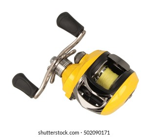 Yellow multiplier fishing reel isolated on white
