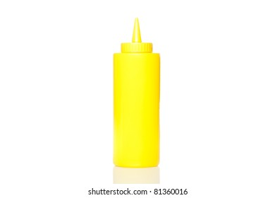 A yellow mustard bottle against a white background