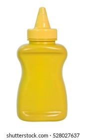 Yellow mustard squeeze bottle container with no label. Isolated. White background. Vertical.
