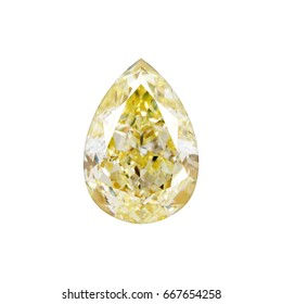 Yellow natural diamond Pear shape isolated on white background