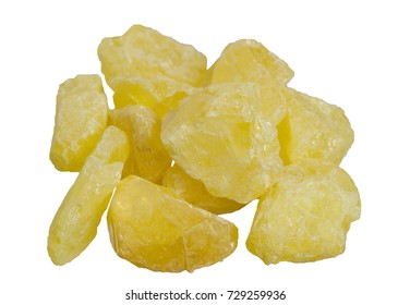 Yellow natural native sulfur crystal isolated. It is used for the production of sulfuric acid, the vulcanization of rubber, as a fungicide in agriculture and as a sulfur colloid - a drug.