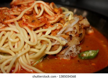 Yellow Noodles in Spicy Peanut Sauce, Mee Rebus