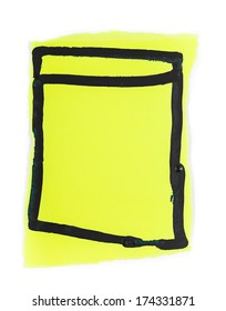 Yellow note with a black margin, isolated on white.