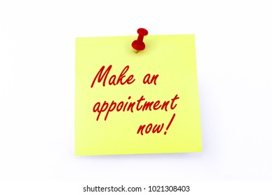 Yellow Notepad With Red Pin - Make An Appointment Now!