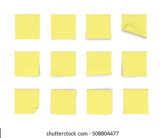 Yellow office stickers isolated on a white background. Office stuff. Memory reminders. Organizer. Office and clerical work. Education and study.