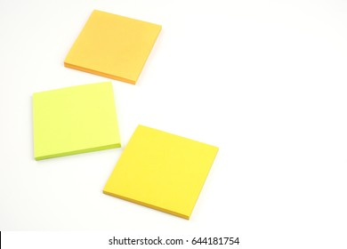 Yellow office stickers isolated on a white background. Memory reminders. Organizer. Education and study.