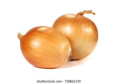 Yellow onion close-up with shallow depth of field. A collection of fresh vegetables isolated on white background