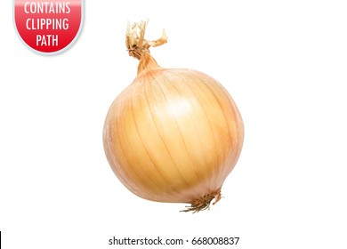 Yellow onion isolated on white with clipping or working path